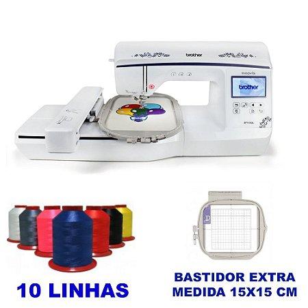 Maquina de Bordar Brother BP 1430L com Bastidor Extra 15X15 CM e Kit Inicial com Linhas de Bordar