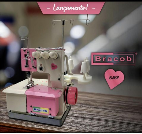 Máquina de costura Galoneira Bracob 3 agulhas semi industrial BC 2600-3 Baby- 110 V