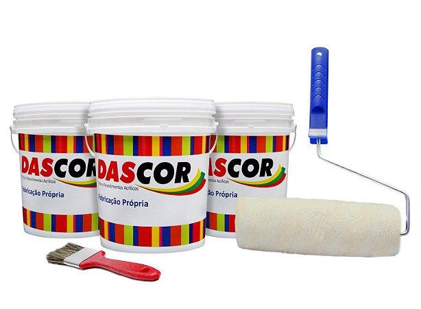 Kit 3 Tinta Piso Base Água Cores 3,6L + Rolo Completo + Trincha
