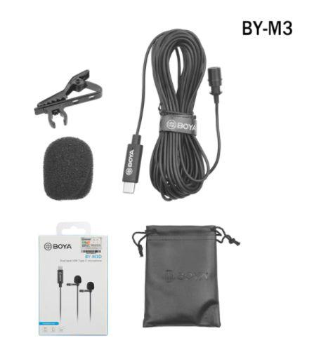 Microfone de lapela BOYA BY-M3 (USB-C com fio)
