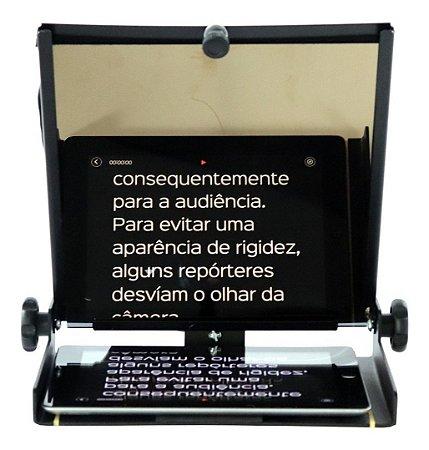 """Teleprompter 10,5"""" com vidro SFHD e suporte para câmera"""