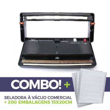Seladora a Vácuo Comercial + 200 embalagens 15x20