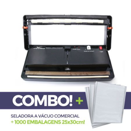 Seladora a Vácuo Comercial + 1000 embalagens 25x30
