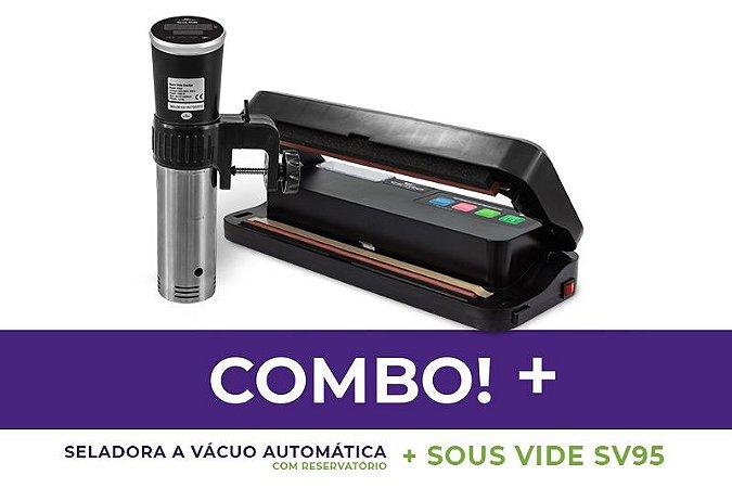 Seladora a Vácuo Comercial Automática com Reservatório + Termocirculador Sous Vide SV95