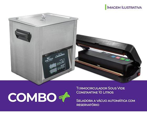 Combo Sous Vide 10 Litros e Seladora Comercial Automática com Reservatório 110v