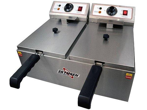 Fritadeira Elétrica 2 Cubas - 5,5 litros - INOx