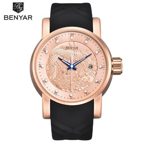 e504a76cc60 Relógio de Luxo Masculino Benyar Yakuza Ouro Rose - Omega importados