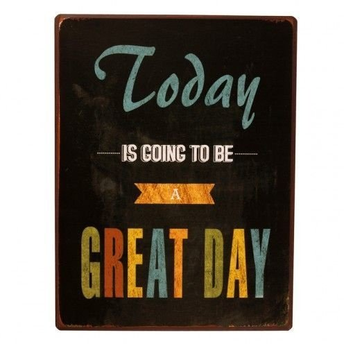 Placa Decorativa Metal - Great Day - 35x27cm