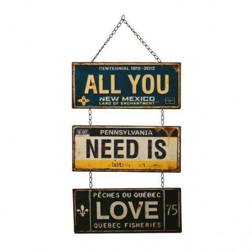Placa Decorativa Metal - All You Need - 61x30cm