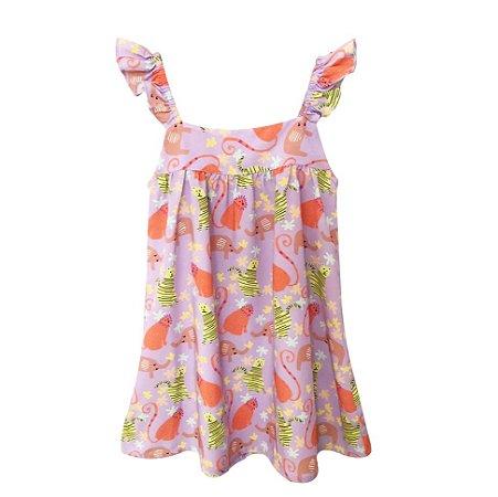 Vestido infantil alça frufru bichinhos