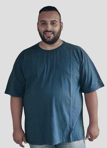 Camiseta Básica Masculina  Plus Size Algodão Azul Jeans