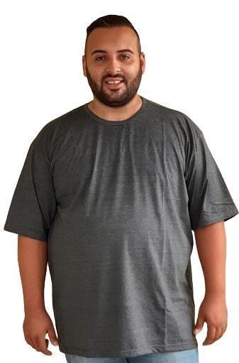 Camiseta Basica Masculina  Plus Size Algodão Grafite