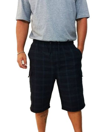 Bermuda Dazz Ling Plus Size Cós Elástico Xadrez