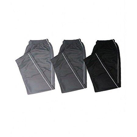 Kit 3 Calças Cós Elástico Volver Plus Size Masculina Cinza