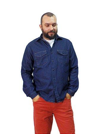 Camisa Jeans Plus Size Masculina Manga Longa Oncross