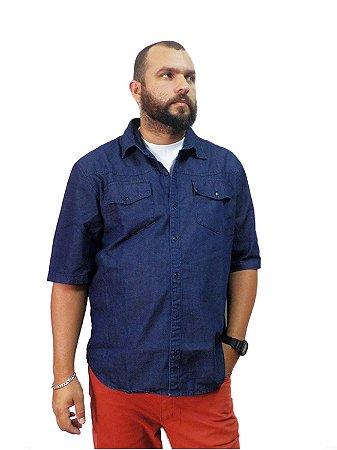 Camisa Jeans Plus Size Masculina Manga Curta Oncross