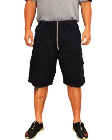 Bermuda Plus Size Masculina Jeans Preta Cos Elastico Oncross co