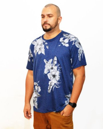 Camiseta Plus Size Masculina Floral Air Waves