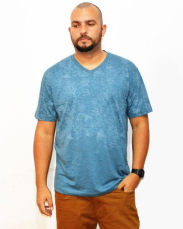 Camiseta Plus Size Masculina Floral Air Waves 01