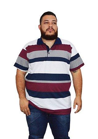 Camisa Polo BigMen Plus Size Masculina Listrada