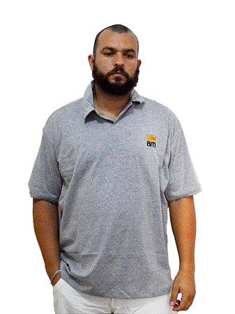 Camisa Polo Plus Size Masculina Bigmen Cinza
