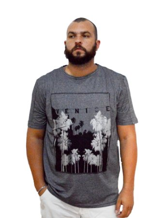 Camiseta Plus Size Masculina Austin Life Venice Cinza