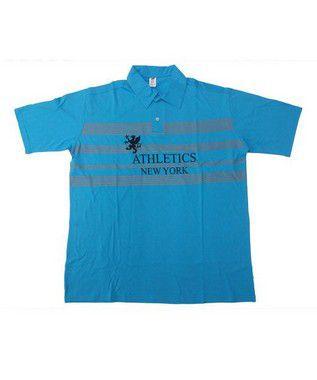 Camisa Polo BigMen Plus Size Masculina New York Azul Claro