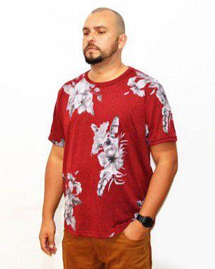 Camiseta Plus Size Masculina Floral Air Waves Vermelha