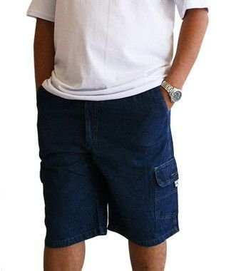 Bermuda Masculina Plus Size Cós Elástico Jeans Azul