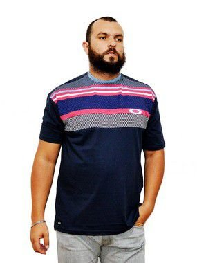 Camiseta Plus Size Masculina Preta Listras Coloridas