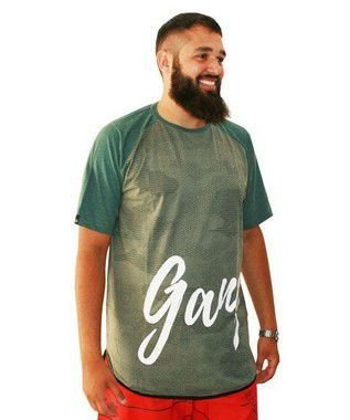 Camiseta Plus Size Masculina Long Line Camuflada Gangster Verde