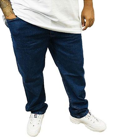 Calça Masculina Plus Size Jeans Básica Azul