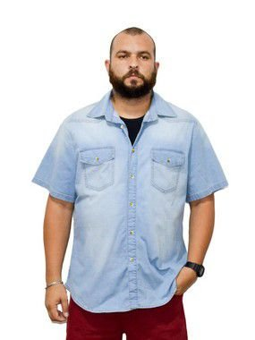 Camisa Jeans Plus Size Masculina Manga Curta Bigmen Azul Claro