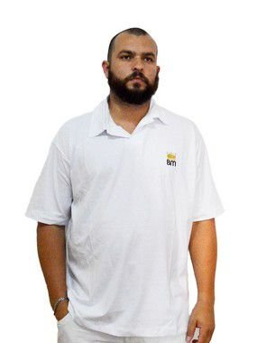 Camisa Polo Plus Size Masculina Bigmen Branca