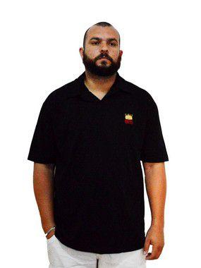 Camisa Polo Plus Size Masculina Bigmen Preta