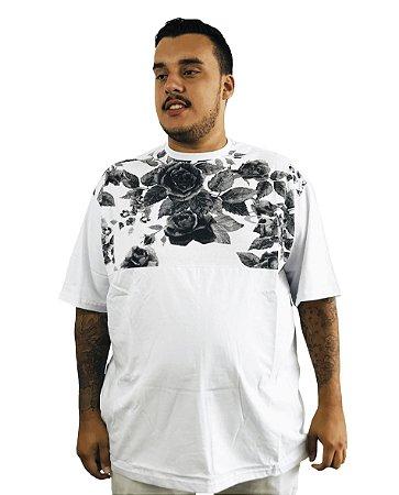 Camiseta Plus Size Masculina Branca Florida