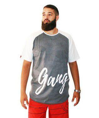 Camiseta Plus Size Masculina Long Line Camuflada Gangster Cinza