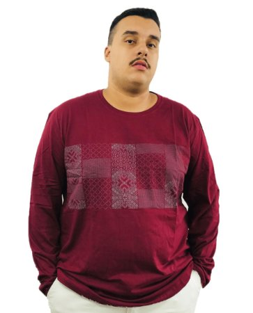 Camiseta Manga Longa Air Waves Plus Size Vinho