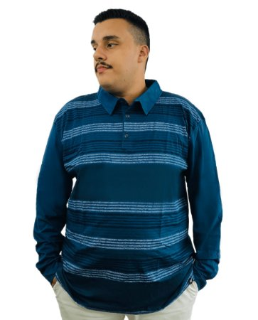 Camisa Polo de Manga Longa Plus Size Air Waves Azul