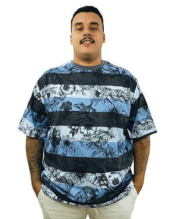 Camiseta Plus Size Masculina Bigmen Florida Tons de Azul