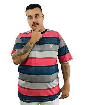 Camiseta Plus Size Masculina Bigmen Cinza com Faixas Coloridas