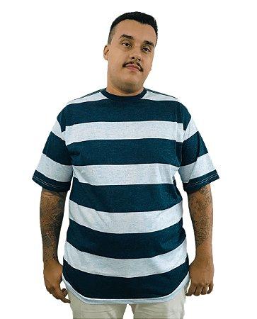 Camiseta Plus Size Masculina Bigmen Faixas Azul Claro