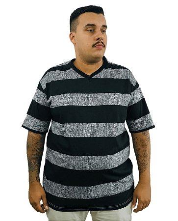 Camiseta Plus Size Masculina Bigmen Gola V Preta e Cinza