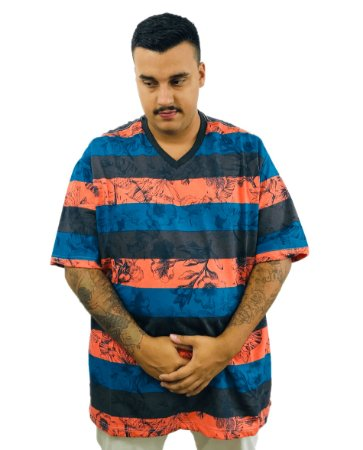 Camiseta Plus Size Masculina Bigmen Gola V Laranja Listrada