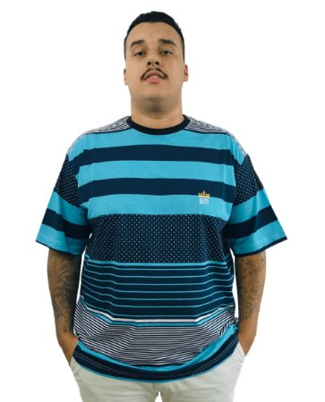 Camiseta Plus Size Masculina Bigmen Azul Listras e Faixas