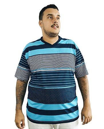 Camiseta Plus Size Masculina Bigmen Gola V Azul Listras e Faixas