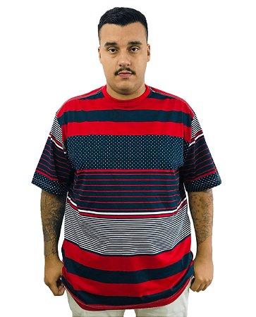 Camiseta Plus Size Masculina Bigmen Listras e Faixas Vermelhas