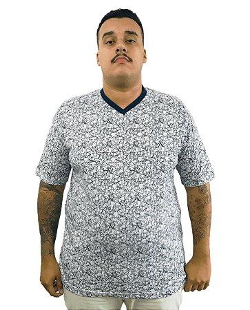 Camiseta Plus Size Masculina Bigmen Gola V Branca com Estrelas Azuis