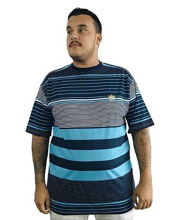 Camiseta Plus Size Masculina Bigmen Azul Listras e Pontos