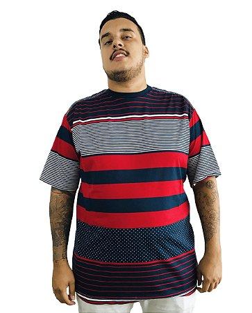 Camiseta Plus Size Masculina Bigmen Listras Vermelhas, Azuis e Brancas